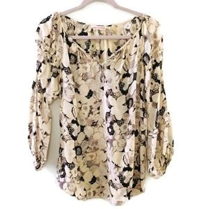 REBECCA TAYLOR silk floral ruffle sleeve blouse